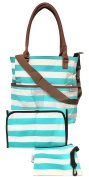 Nappy Bag by Baby Steps with matching Baby Changing Pad and Zipped Accesory Bag Green/White Stripe