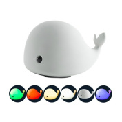 Brighome Dolphin Silicone Children Night Light - Sensitive Tap Control, USB Rechargeable, Warm White Light, 7-Colour Breathing Light for Girlfriend Adult Kid Adult Baby Nursery Bedroom