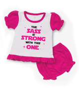"""Star Wars """"The Sass is strong with this one"""" PINK/Black Baby BLOOMER SET"""