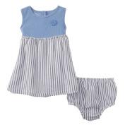 Little Wonders Infant Girls 2 PC Blue Striped Sundress Dress & Panty