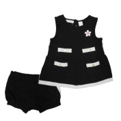 First Impressions Infant Baby Girls 2 PC Black & White Dress & Bloomer Set