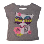 Peanut & Ollie Infant Girls Hawaiian Tropical Kitty T-Shirt Grey Tee Shirt 24m