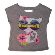 Peanut & Ollie Infant Girls Hawaiian Tropical Kitty T-Shirt Grey Tee Shirt 24m