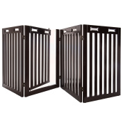 Arf Pets Free Standing Wood Dog Gate with Walk Through Door, Adjustable - BONUS Set of Foot Supporters Included