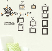 Revesun Wall Sticker Photo Frame Decorative The Songs of Birds Colour Home Decor for Kids Bedroom Removable 90*60cm