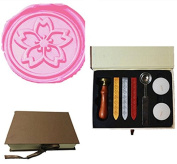 MDLG Vintage Japanese Sakura Flower Blossom Picture Wedding Invitation Wax Seal Sealing Stamp Sticks Spoon Gift Box Set