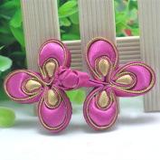Lyracces Sewing Fasteners knotting peach blossom flower Satin Fabric Cotton Stuff Chinese decorative knots Cheongsam Frogging Button 1pair