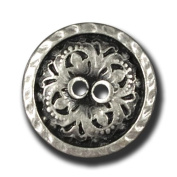 Button Paradise Sewing Buttons - Set of Extraordinary Metal Buttons, Filigree Floral Pattern - Colour