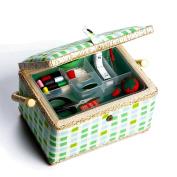 bbloop Medium Vintage Sewing Basket with Notions Package - Green Plaid Style