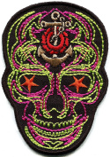 Skull day of the dead calavera biker embroidered applique iron-on patch new S-1319
