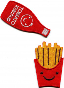French Fries and Ketchup pair food retro fun embroiderd appliques iron-on patches new S-1314