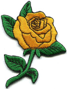Golden yellow rose tattoo biker love retro embroidered applique iron-on patch new S-1304