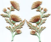 Coffee cream brown carnation spray flowers pair embroidered appliques iron-on patches new S-1298