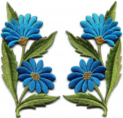 Sky blue daisies pair flowers floral bouquet embroidered appliques iron-on patches new S-1295