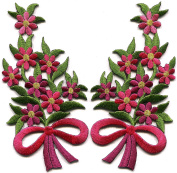 Pink punch flowers floral bouquet pair embroidered appliques iron-on patches new S-1293