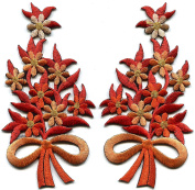Orange marmalade flowers floral bouquet pair embroidered appliques iron-on patches S-1292