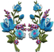Baby blue pink roses pair flowers floral bouquet embroidered appliques iron-on patches S-1290