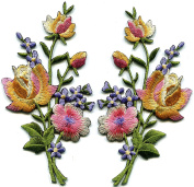 Pink gold lavender roses pair flowers floral embroidered appliques iron-on patches S-1289