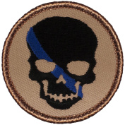 Thin Blue Line Skull Patrol Patch - 5.1cm Diameter Round Embroidered Patch