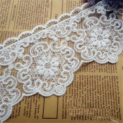 Ivory 3 Yards Fabric Embroidery Mesh Lace Trim Shirt Sewing Costumes Dress Supplies 7.6cm Wide