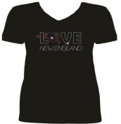 Rhinestone New England Football LOVE T Shirt sv P8C1