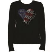 Rhinestone New England Football Heart T Shirt LR R56A