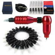Solong Tattoo 2-In-1 Rotary Tattoo Machine and Permanent Makeup Pen 50 Needle Cartridges Red M666C-2