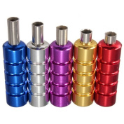 5 Colours Aluminium Tattoo Machine Gun Grip Tube Kit with Backstem