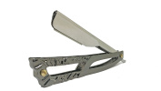 Barber Straight Razor Cutthroat Slide out Square Design Gold and Rose Gold