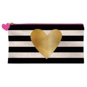 Slant Pink Zipper Pencil Make Up Case Gold Heart On Black Stripes