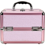 Sunrise C0211 4-Tiers Expandable Trays Makeup Train Case Shoulder Strap Key lock, Pink Krystal
