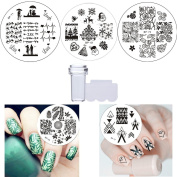 BORN PRETTY 5 Circular Nail Art Stamp Template Stickers Nail Stamping Image Plate Pattern DIY + A Clear Silicone Nail Stamper & Scraper