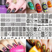 BORN PRETTY Flower Theme Rectangle 6 Nail Art Stamp Template Multi-Pattern Stamp Image Plate Combination Set DIY Manicure Template