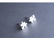 1 pair Silver Jewellery Women Design Puzzle Stud Earring