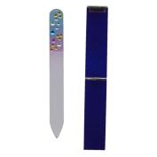 Diamante Small Handbag Size Mini Glass Nail File in Hard Case - Blue