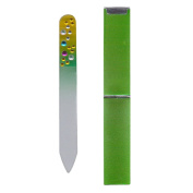Diamante Handbag Size Mini Glass Nail File in Hard Case - Green