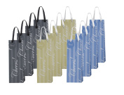 "Heart Paper Products 12 Piece Elegant Wine Gift Bags ""Cheers"", 3 Assorted Colours"