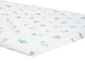 Zack & Tara Playard Sheet - Lovely Elephants in Blue