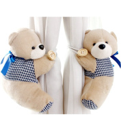 PYD 2PCS Cute Bears Curtain Tieback Buckle Hook Fastener Baby Kids Room Window Screens Decoration