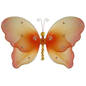 The Butterfly Grove Emily Butterfly Decoration 3D Hanging Mesh Organza Nylon Decor, Orange Creamsicle, Small, 13cm x 10cm