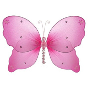 The Butterfly Grove Emily Butterfly Decoration 3D Hanging Mesh Organza Nylon Decor, Magenta Hibiscus, Medium, 28cm x 18cm