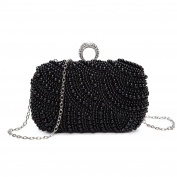 Chichitop Womens Luxury Special Crystals Beaded Pearl Evening Clutch Bag