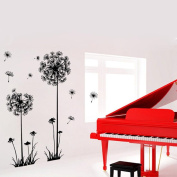 Wall Stickers,GOODCULLER New Black Creative PVC Dandelion Flower Plant Tree Large Removable Home Wall Decal Sticker Room Decor Mural Wallpaper Home Decor