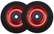 2 Red Alloy Core 100mm Scooter Wheels + Abec 7 Bearings For MGP Razor Lucky