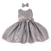Baby Girls Silver Sequined Top Glitter Bow Headband Flower Girl Dress 6-24M
