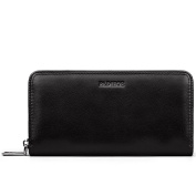 Padieoe New Fashion Men's Genuine Leather Clutch Wallet Luxury Brand Organiser Coin Purse For Male Black Zipper Clutches