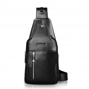 Padieoe New Fashion Brand Design Black Genuine Leather Bag Chest Pack Men's Messenger Bags Vintage Shoulder Bags  .
