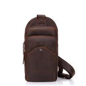 Gendi Vintage Mens Genuine Leather Crazy Horse Leisure Outdoor Handmade Chest Pack Sling Single Shoulder Bag