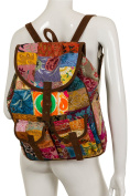 VINTAGE PATCHWORK BACKPACK with VELVET SUEDE