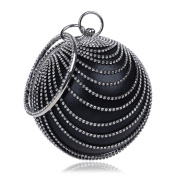 Flada Women's Ball Shape Crystal Evening Clutch Purse Wedding Party HandBags Black